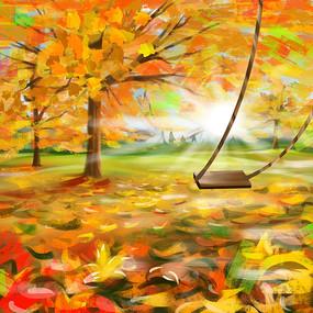 秋天枫叶林