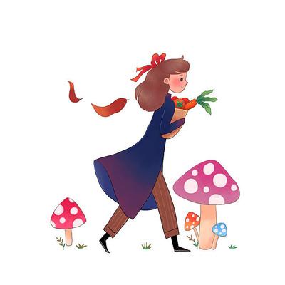 秋天女孩抱着果子走在路上