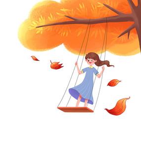 秋天女孩树下荡秋千