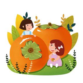 秋天柿子和小女孩创意素材