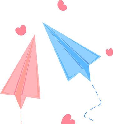 手绘简约情侣具线条感的纸飞机