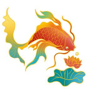 国潮动物锦鲤荷花素材