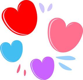手绘可爱红粉蓝紫爱心ai矢量元素