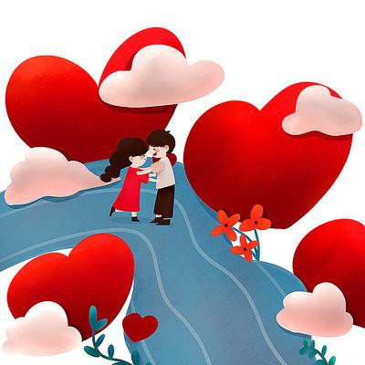 原创爱心恋人元素