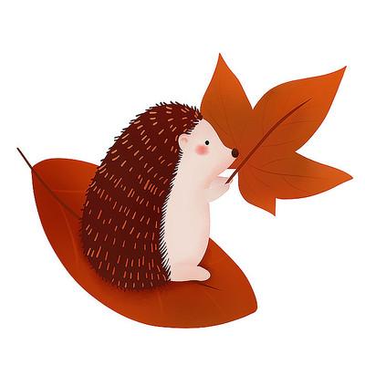 原创卡通动物刺猬秋叶