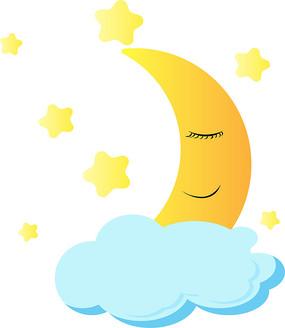 手绘卡通弯月月亮星星ai矢量元素
