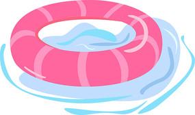 手绘夏天粉色条纹游泳圈ai矢量元素