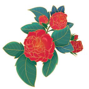 国潮植物花朵原创素材
