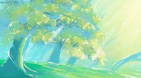 卡通手绘唯美树森林设计背景