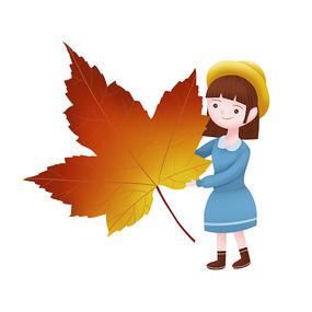 秋天手绘卡通女孩人物