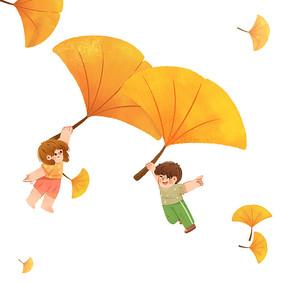 秋天银杏降落儿童