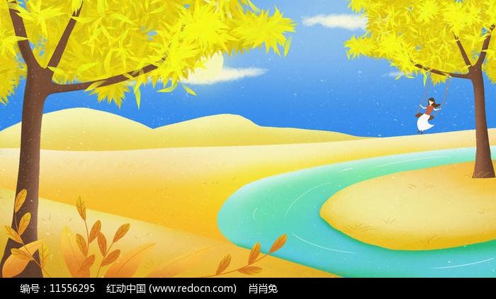 手绘秋天插画背景图片