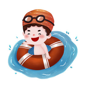 原创游泳男孩