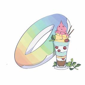 冰淇淋夏天游泳圈