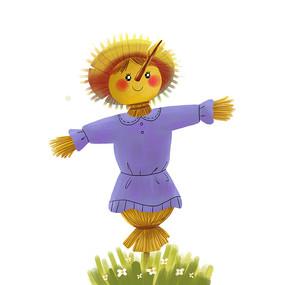 稻草人站在花丛中