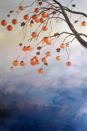 高清纯手绘柿子树风景油画