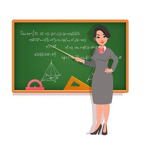 卡通教师黑板讲课png素材