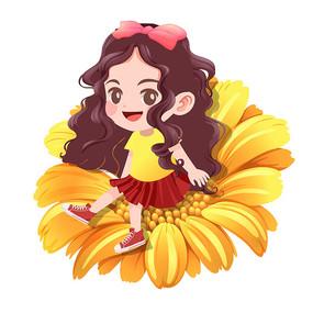 秋季卡通清新向日葵上的女孩png素材