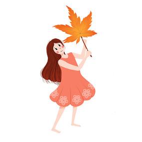 秋天的小女孩