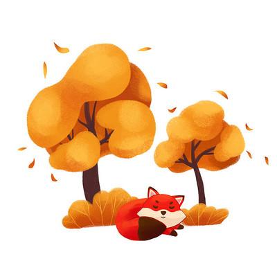 秋天狐狸树下睡觉
