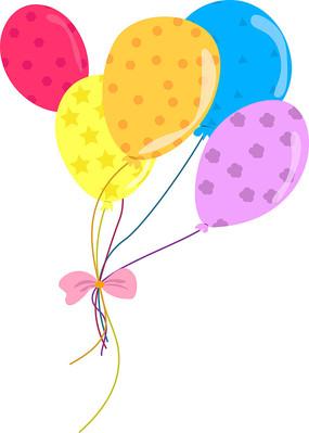 手绘几何花纹彩色气球彩线系蝴蝶结