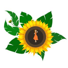 向日葵和女孩组合 手绘
