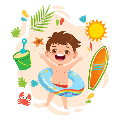 夏天海边儿童游泳玩耍插画png素材