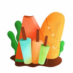 原创元素雪糕西瓜冰淇淋
