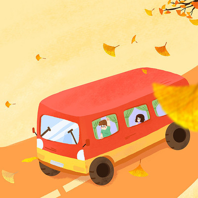乘车在秋天的路上psd