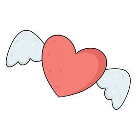 带翅膀的粉色爱心