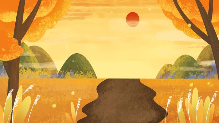 卡通手绘秋天秋季远景设计背景