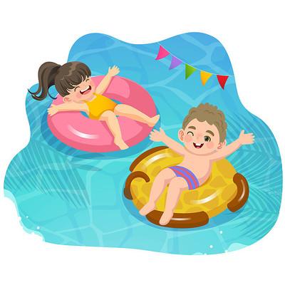 卡通夏天儿童游泳玩耍插画素材