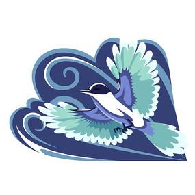 蓝色飞翔的喜鹊插画元素