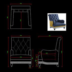 美式休闲椅躺椅休闲沙发CAD椅子