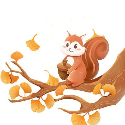 秋天节气季节松树和银杏叶素材