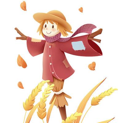 秋天节气小麦和稻草人素材
