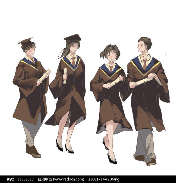 手绘卡通毕业季学生人物图片