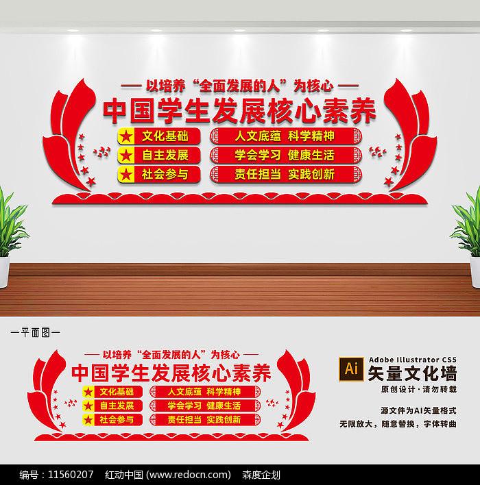 中国学生发展核心素养校园文化墙图片