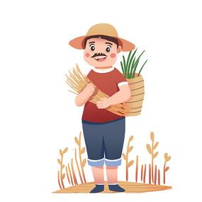 抱着麦子的老头正在秋收元素