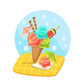 彩色夏日彩色冰激凌西瓜雪糕