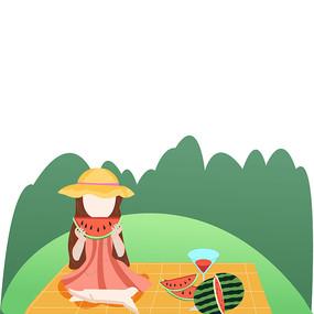 吃西瓜的小女孩插画元素