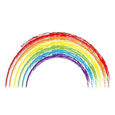 创意手绘蜡笔风格彩虹矢量素材