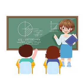 卡通开学季教师黑板讲课插画素材