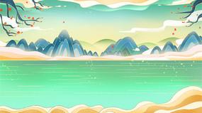 卡通手绘国潮山水风景插画背景