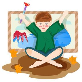 男孩坐在地上画风景