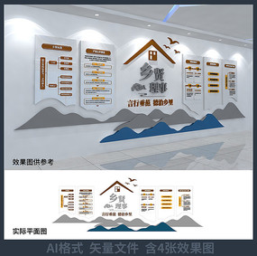 乡贤理事农村文化背景墙设计