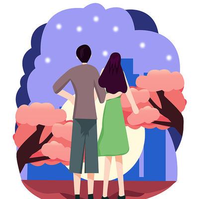原创元素七夕情侣在赏月