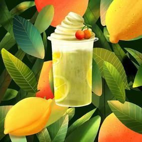 柚子柠檬雪顶饮品元素