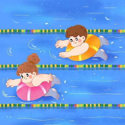 比赛游泳psd