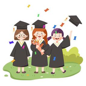 毕业卡通场景元素